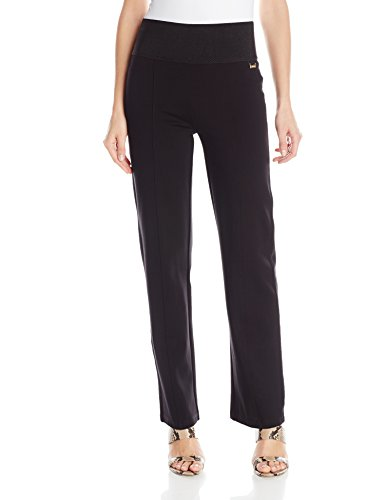 Calvin Klein Women's Power Stretch Wide Waist Straight Pant, Black, X-Large