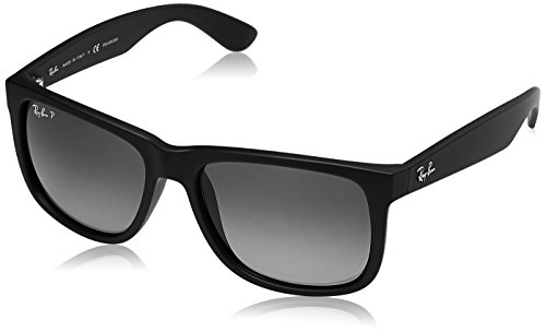 Ray-Ban Men's Justin Polarized Square, Black Rubber, 55mm