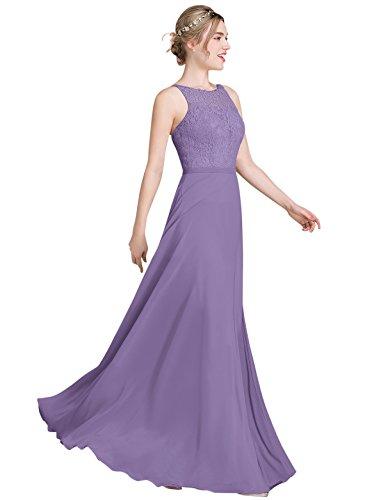 Loffy Women's Long Prom Dress Bridesmaid Dress Lace Chiffon Evening Gown Tahiti Size 2