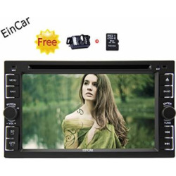 EinCar 2 Din Car Autoradio Stereo in Dash Car Deck Head Unit Steering Wheel Control GPS Navigation Audio Touch Screen Bluetooth DVD/CD/MP3/MP4/AM/FM/Radio with Free Rear View Camera