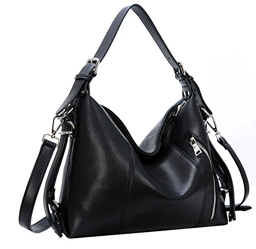 Heshe Vintage Women's Leather Shoulder Handbags Totes Top Handle Bags Cross Body Bag Satchel Handbag Ladies Purses (Black-PU leather)
