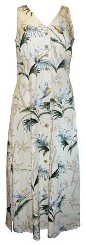 Paradise Found Womens Bamboo Paradise Empire Long Tank Dress in Cream – S