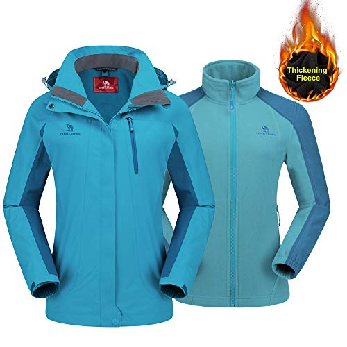 CAMEL CROWN Women's Outdoor Sports Jacket 3 in 1 Ski Waterproof Mountain Coat Snow Windproof Hooded with Inner Warm Fleece Breathable
