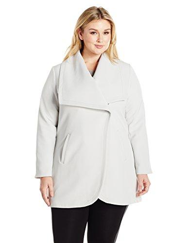 Lark & Ro Women's Plus Size Single Button Jacket, Silver, 2X