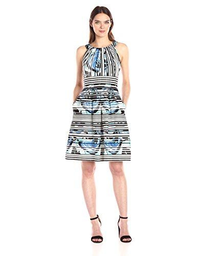 Nine West Women's Sleeveless Pleat Neck Fit-and-Flare Dress, Ice Blue/Ivory Multi, 10