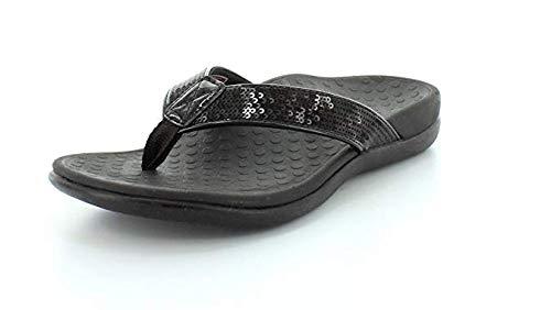 Vionic Women's Tide Sequins Toe-Post Sandal Black 8M