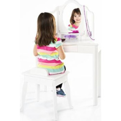Guidecraft Classic White Vanity and Stool Set: Kids' Wooden Table with 3 Mirrors, Storage Seat and Make-Up Drawer – Children's Furniture