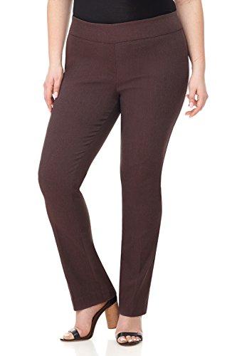 Rekucci Curvy Woman Plus Size Modern Straight Leg Pant w/Tummy Control (18W,Brown Mix)