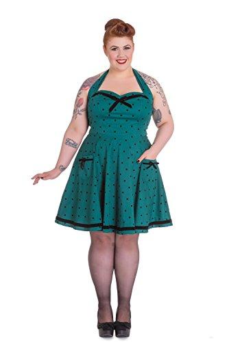 Hell Bunny Plus Jolene Pinup Rockabilly Teal Green Polka Dot Mini Dress (XXL)