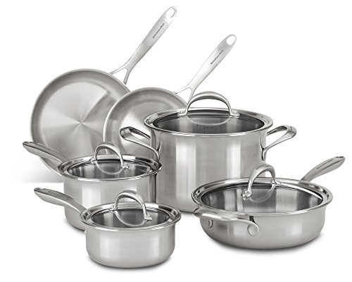 KitchenAid KC2CS10ST 5-ply Copper Core 10-Piece Set Cookware – Stainless Steel