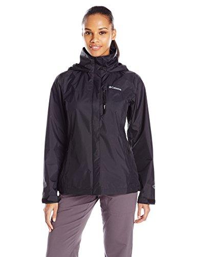 Columbia Women's Pouration Waterproof Rain Jacket, X-Large, Black