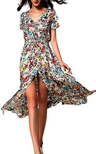 ARANEE Bohemian Print Sleeveless Faux Wrap Long Maxi Dress with Belt, White, Small