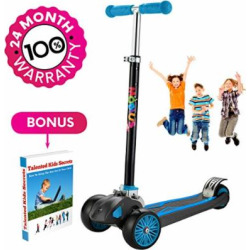"Scooter For Kids, Maxi Foldable Kick Scooter Deluxe, handlebars adjustability from age 5-12, Surface-safety Balance Technology, 2″widthX3 Wheels, 24 Months Guarantee, eBookGift ""Talented Kids Secrets"""