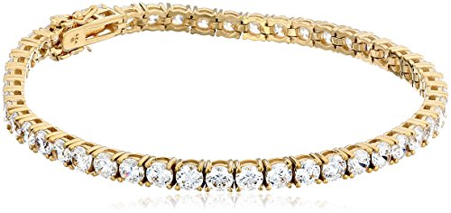 Yellow Gold Plated Sterling Silver Tennis Bracelet set with Round Cut Swarovski Zirconia (16.77 cttw), 7.25″