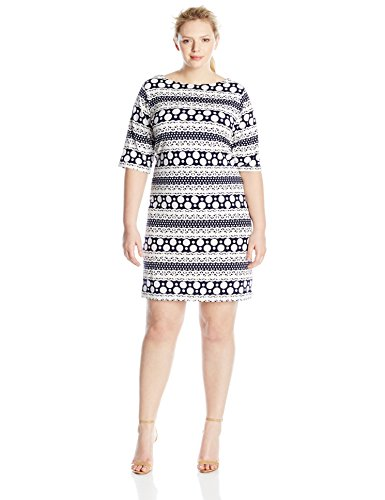 Tiana B Women's Plus-Size Puff Printed Knit Shift Dress with Elbow Sleeves, Navy/White, 22W