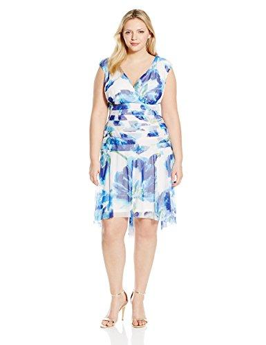 London Times Women's Plus-Size Printed Mesh Shutter Dress with Dropped Waist, Blue, 18W