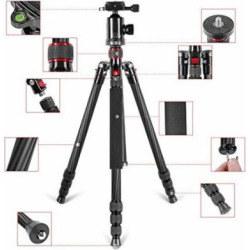 Neewer Lightweight Portable 66 /168cm Carbon Fiber Camera Tripod Monopod with 360 Degree Ball Head and Bubble Level, Loa