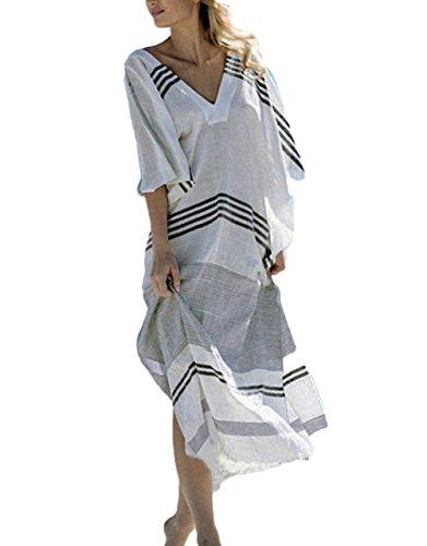 Bsubseach Women Black White Striped Turkish Beach Kaftan Beachwear Swimwear Bikini Cover up Maxi Dress