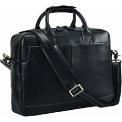 Texbo Genuine Full Grain Leather Men's 16 Inch Laptop Briefcase Messenger Bag Tote (Black)