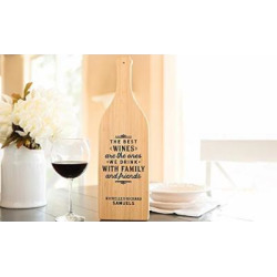 Personalized by Name Cutting Board for Kitchen – Wood Boards Housewarming & Wedding Gift (16.75 x 5 Bamboo Wine Bottle Shaped, Samuel Design)