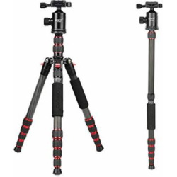 Bonfoto 54″ Compact Carbon Fiber Camera Travel Tripod with Carrying Case Panorama Ball Head for Canon Nikon Sony Olympus DSLR Cameras and Cell Phones