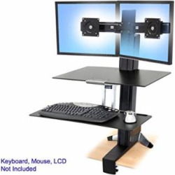 "Ergotron, Workfit-S Dual With Worksurface+ Stand ( Tray, Desk Clamp Mount, Pivot, Column, Crossbar ) For 2 Lcd Displays / Keyboard / Mouse Black, Polished Aluminum Screen Size: Up To 22″ Mounting Interface: 100 X 100 Mm, 75 X 75 Mm ""Product Category:…"