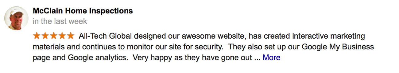 5-Star Review For All-Tech Global left by McClain Home Inspections