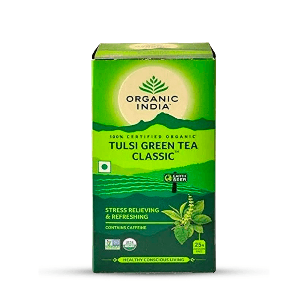 CHA TULSI GREEN TEA 25SCH 45G ORGANIC INDIA
