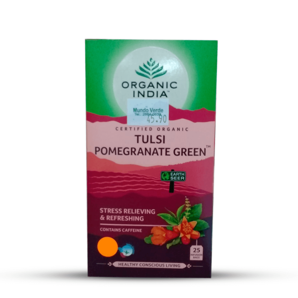 CHA TULSI POMEGRANATE GREEN 18SCH 36G ORGANIC INDIA