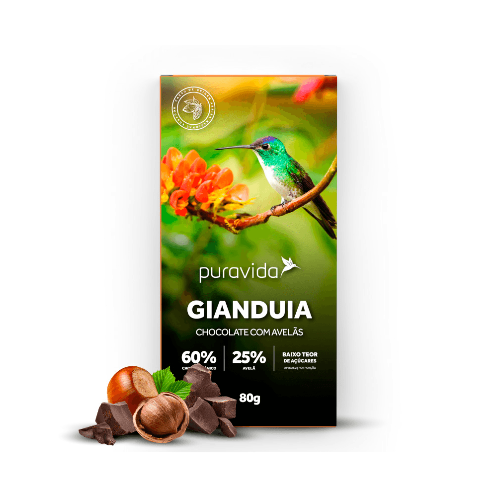 GIANDUIA CHOCOLATE COM AVELÃS 80G - PURA VIDA