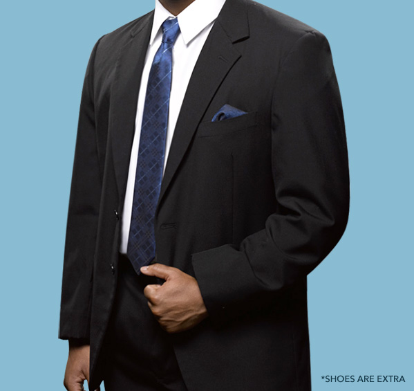 Style 96 Black Notch Lapel Suit - $99.99
