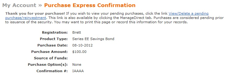 Series EE Savings Bond Order Confirmation