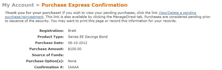 Series EE Savings Bond Order Confirmation