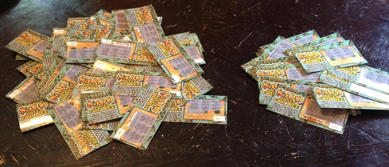 Piles of lotto tickets