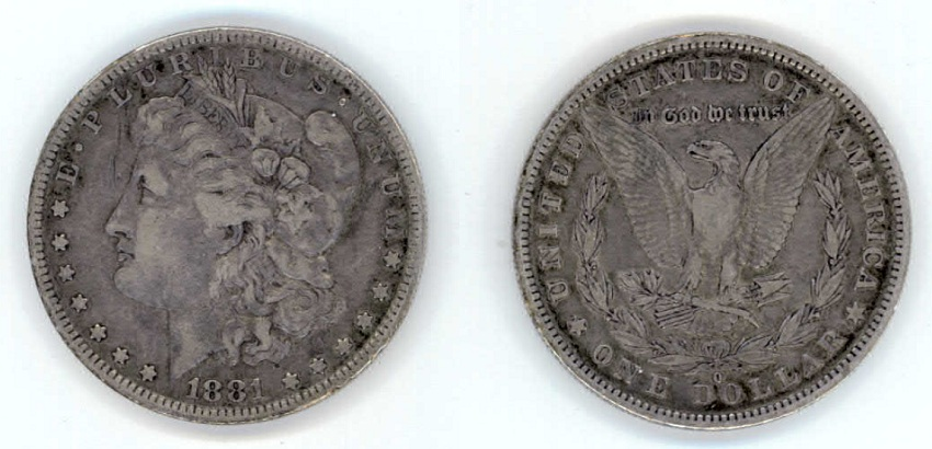 1881 Morgan Peace Silver Dollar