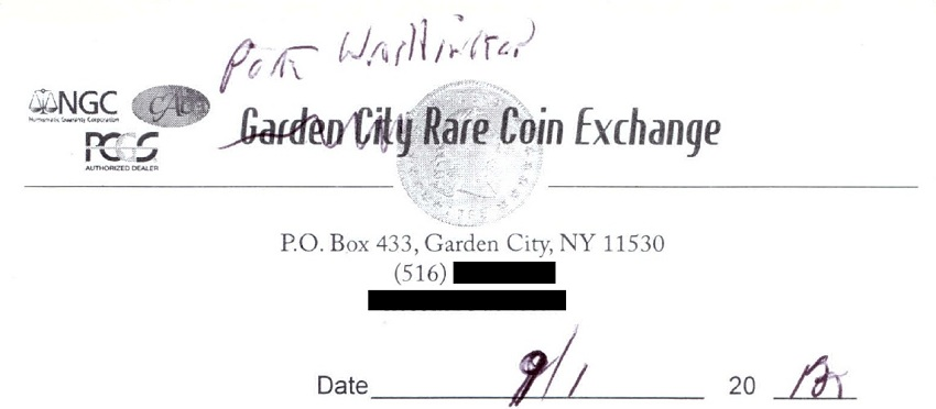 Receipt from the coin store