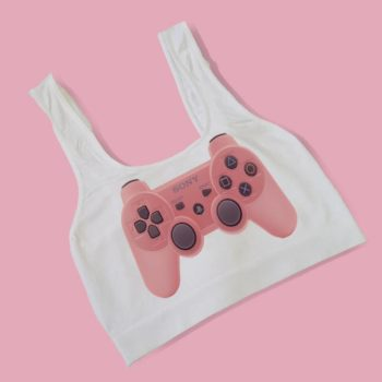 Pink Playstation Game Controller Crop Tops - Bralettes