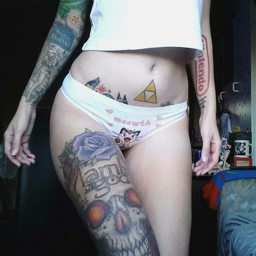 gamer girl Custom Panties - Pokemon Meowth Underwear