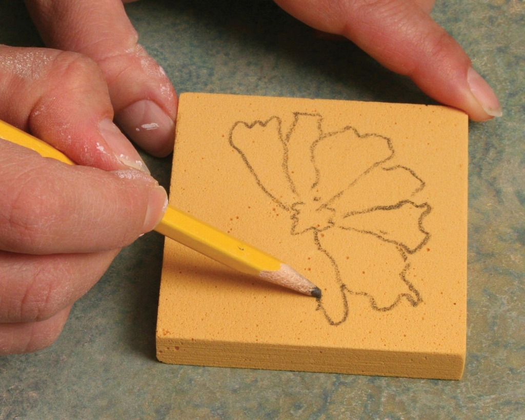 Block printing with underglazes on wet clay amaco