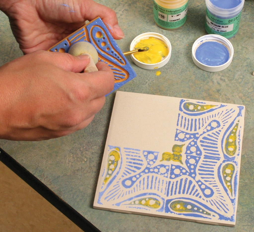 Block printing with underglazes on bisque tile amaco apply underglaze dailygadgetfo Choice Image