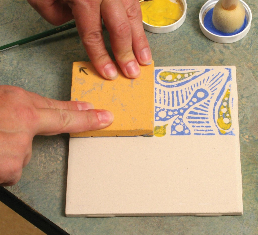 Block printing with underglazes on bisque tile amaco large ts 11570m method2 step6 2048px dailygadgetfo Choice Image