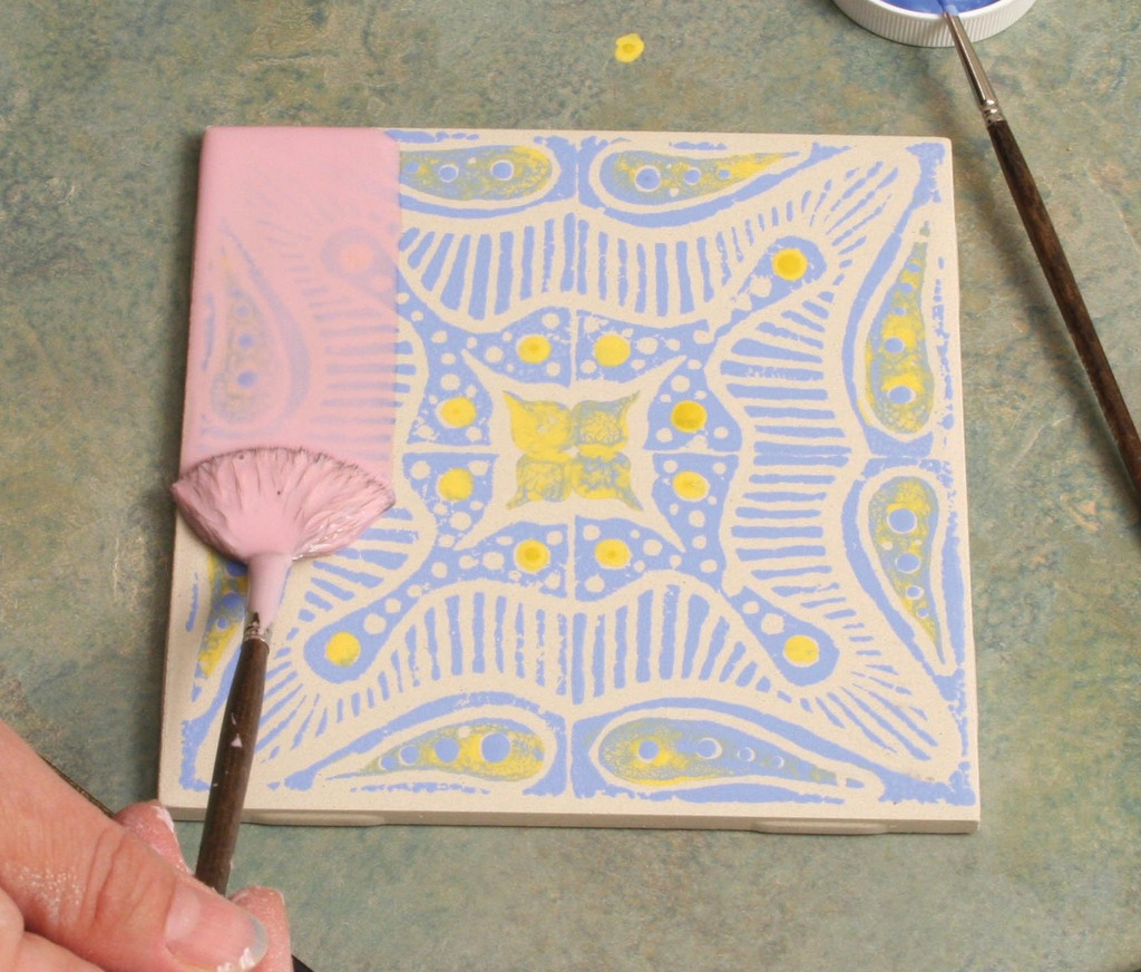Block printing with underglazes on bisque tile amaco glaze dailygadgetfo Gallery