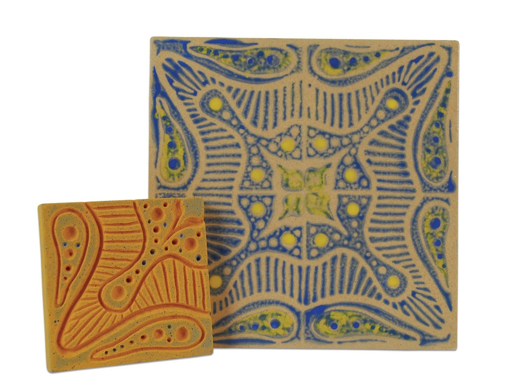 Block printing with underglazes on bisque tile amaco large finished blue tile method2 2048px dailygadgetfo Choice Image