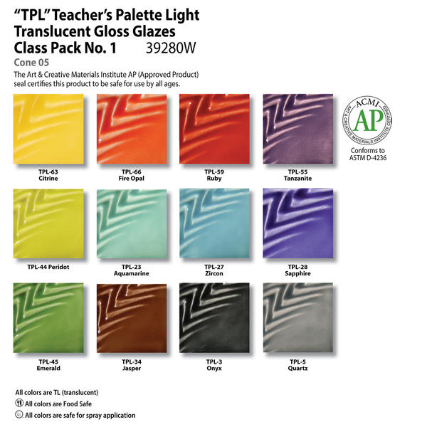 Teachers palette light glazes chart class pack 1 39280w 6x6