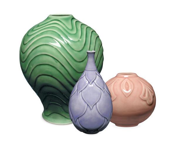 3 celadon vases