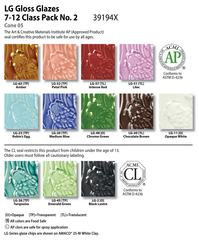 Low Fire Glazes > Class Pack (7-12): (LG) Low Fire Gloss No. 2