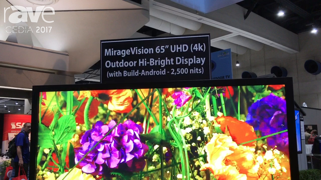 CEDIA 2017: MirageVision Highlights Its IP65 Rated 65-Inch 4K 2500-nit Outdoor TV