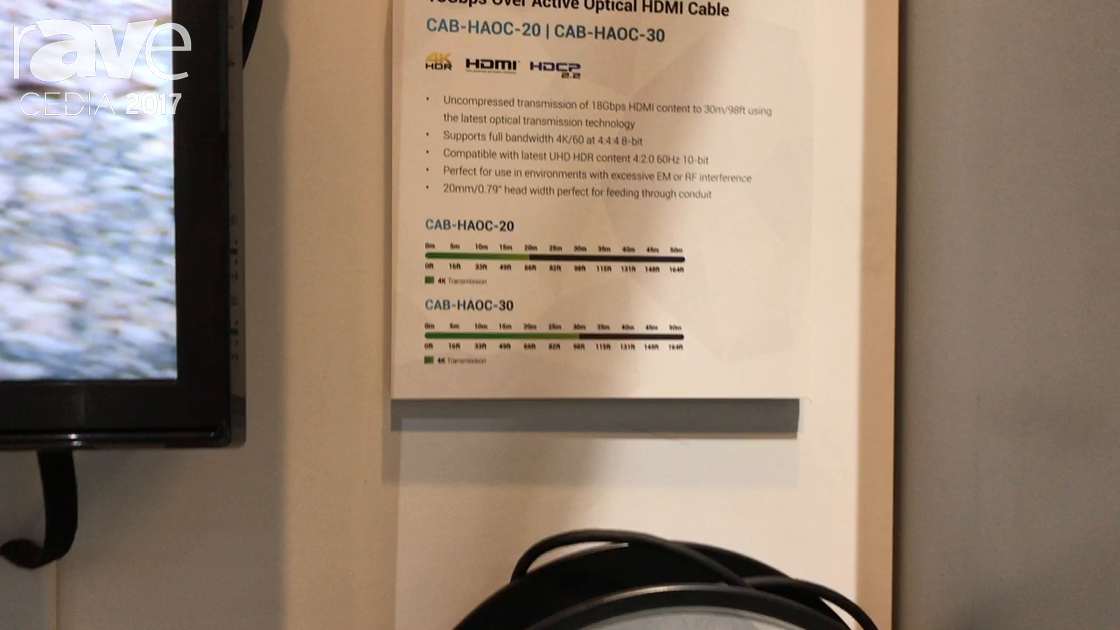 CEDIA 2017: WyreStorm Shows Off CAB-HAOC-30 18Gbps Over Active Optical HDMI Cable