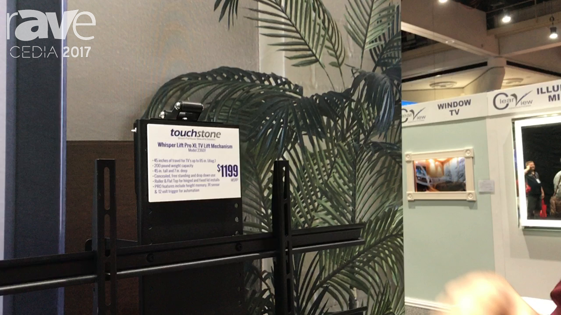 CEDIA 2017: Touchstone Features Whisper Lift Pro XL TV Lift Mechanism