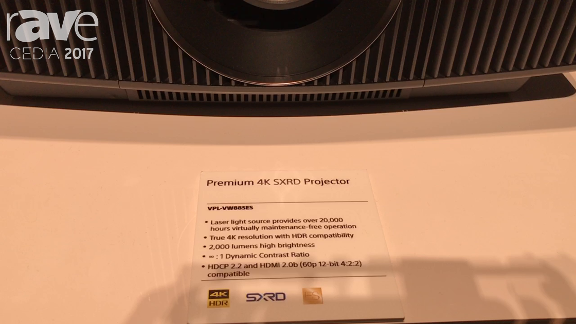 CEDIA 2017: Sony Introduces VPL-VW885ES Premium 4K SXRD Laser-Based Projector